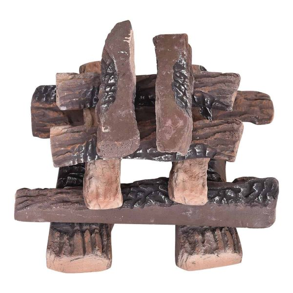 Costway 10PCS Ceramic Wood Logs Gas Fireplace Imitation Wood Propane Firepit Logs 8