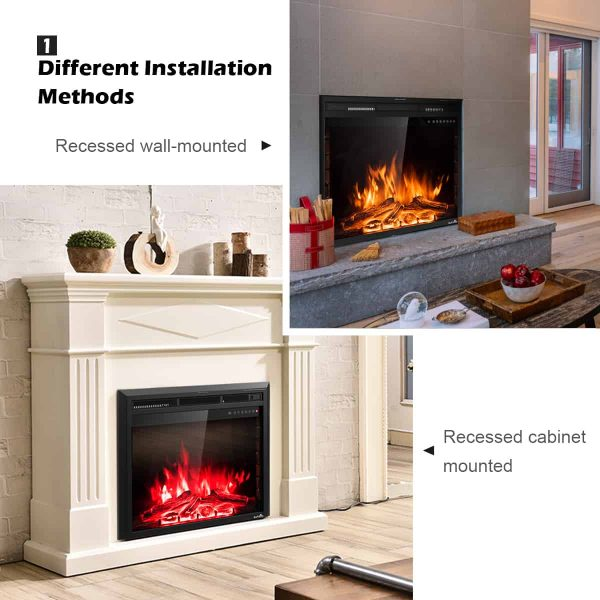 Costway 26'' 750W-1500W Fireplace Electric Embedded Insert Heater Glass Log Flame Remote 3