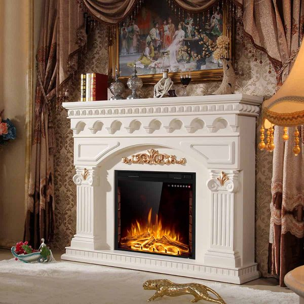 Costway 26'' 750W-1500W Fireplace Electric Embedded Insert Heater Glass Log Flame Remote 4