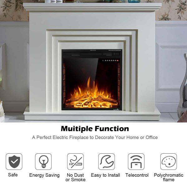 Costway 26'' 750W-1500W Fireplace Electric Embedded Insert Heater Glass Log Flame Remote 6