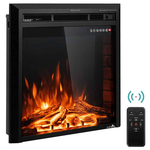 Costway 26'' 750W-1500W Fireplace Electric Embedded Insert Heater Glass Log Flame Remote