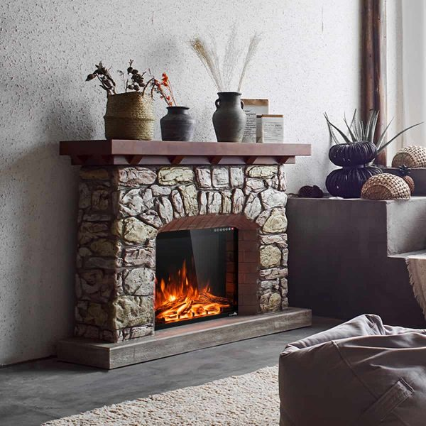 Costway 26'' 750W-1500W Fireplace Electric Embedded Insert Heater Glass Log Flame Remote 8