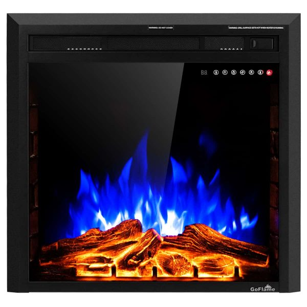 Costway 26'' 750W-1500W Fireplace Electric Embedded Insert Heater Glass Log Flame Remote 9
