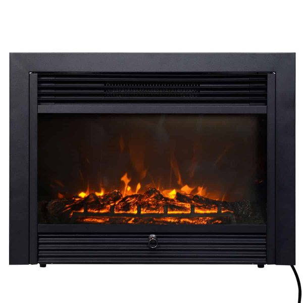 Costway 28.5'' Fireplace Electric Embedded Insert Heater Glass Log Flame Remote Home 3