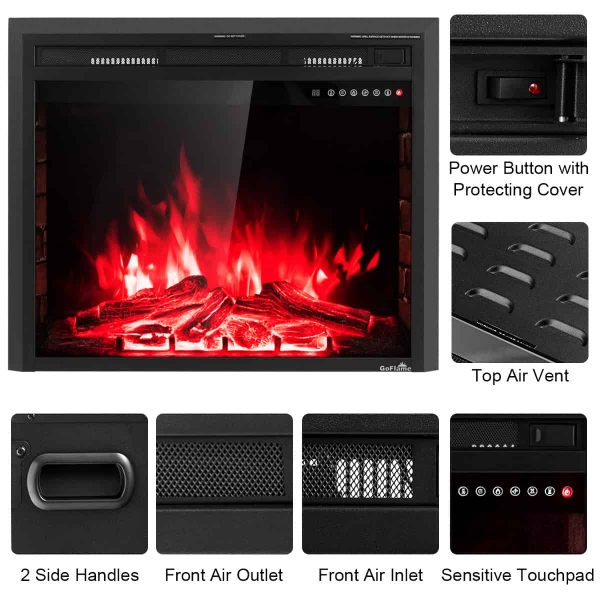 Costway 30'' 750W-1500W Fireplace Electric Embedded Insert Heater Glass Log Flame Remote 1