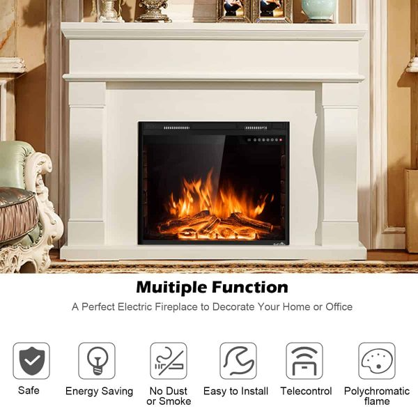 Costway 30'' 750W-1500W Fireplace Electric Embedded Insert Heater Glass Log Flame Remote 5