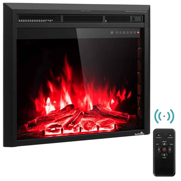 Costway 30'' 750W-1500W Fireplace Electric Embedded Insert Heater Glass Log Flame Remote