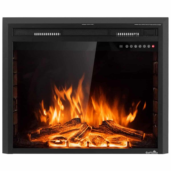 Costway 30'' 750W-1500W Fireplace Electric Embedded Insert Heater Glass Log Flame Remote 8