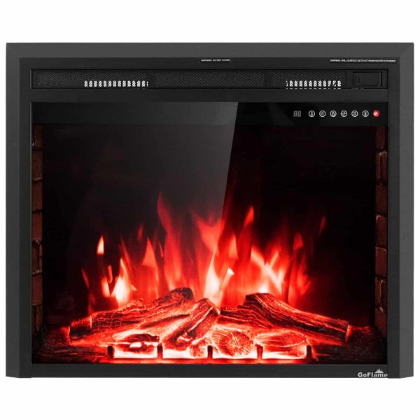 Costway 30'' 750W-1500W Fireplace Electric Embedded Insert Heater Glass Log Flame Remote 9