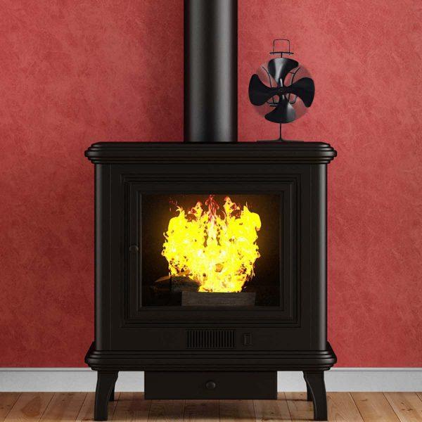 Costway 4 Blades Fireplace Stove Fan Fuel Saving Heat Powered Wood Burner Eco USB 1