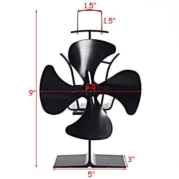 Costway 4 Blades Fireplace Stove Fan Fuel Saving Heat Powered Wood Burner Eco USB 2
