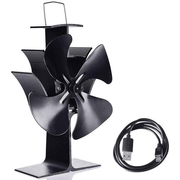 Costway 4 Blades Fireplace Stove Fan Fuel Saving Heat Powered Wood Burner Eco USB