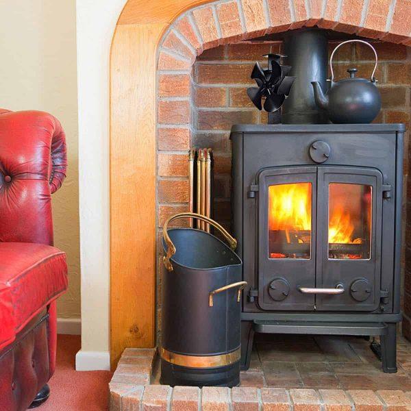 Costway 4 Blades Fireplace Stove Fan Fuel Saving Heat Powered Wood Burner Eco USB 8
