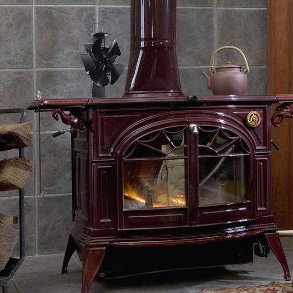 Costway 4 Blades Fireplace Stove Fan Fuel Saving Heat Powered Wood Burner Eco USB 9