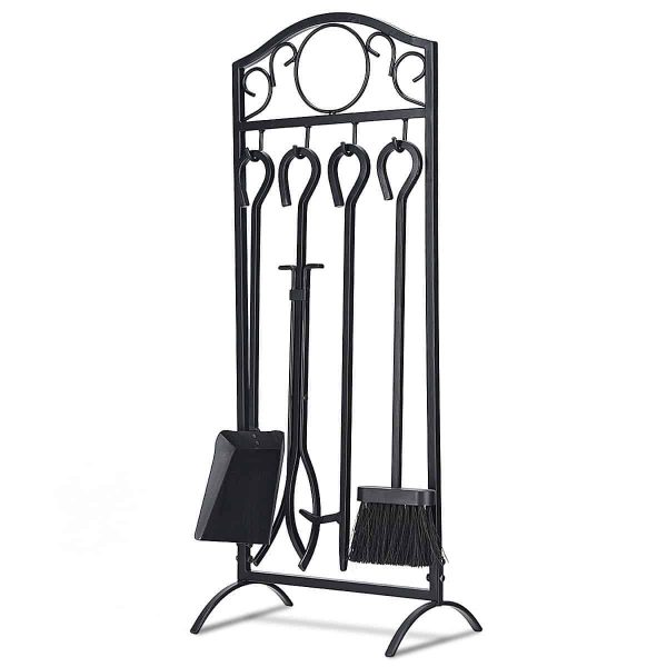Costway 5 Pieces Fireplace Tools Set 4 Tools & Decor Holder Wrought Iron Fireplaces 1