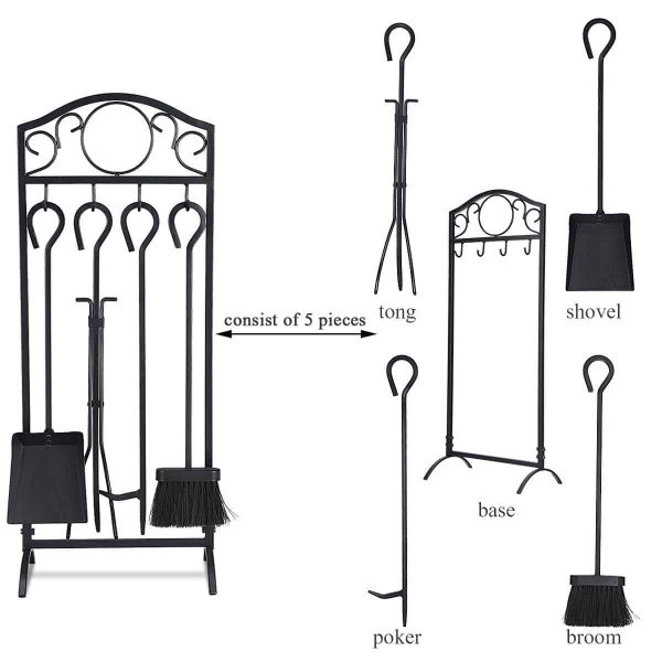 Costway 5 Pieces Fireplace Tools Set 4 Tools & Decor Holder Wrought Iron Fireplaces 2