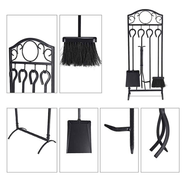 Costway 5 Pieces Fireplace Tools Set 4 Tools & Decor Holder Wrought Iron Fireplaces 4