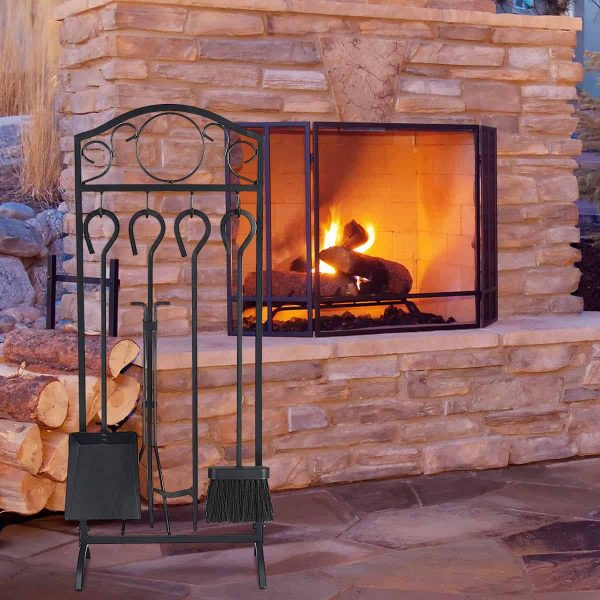 Costway 5 Pieces Fireplace Tools Set 4 Tools & Decor Holder Wrought Iron Fireplaces 5