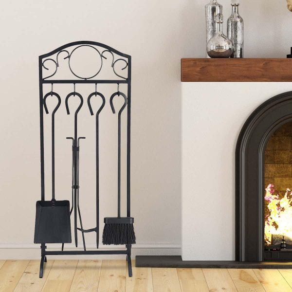 Costway 5 Pieces Fireplace Tools Set 4 Tools & Decor Holder Wrought Iron Fireplaces 6