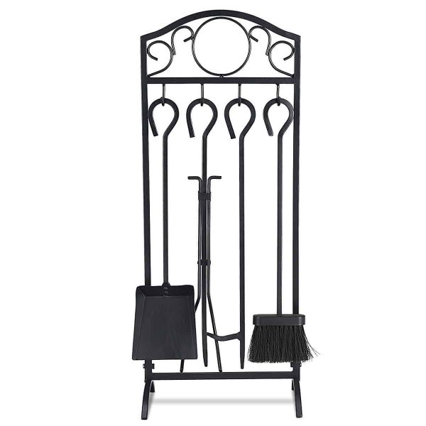 Costway 5 Pieces Fireplace Tools Set 4 Tools & Decor Holder Wrought Iron Fireplaces