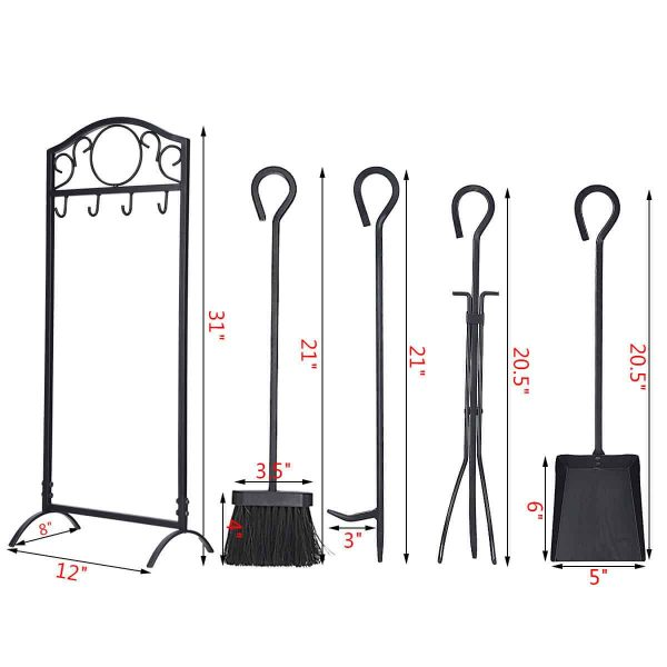 Costway 5 Pieces Fireplace Tools Set 4 Tools & Decor Holder Wrought Iron Fireplaces 7