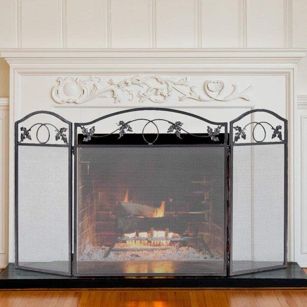 Costway Folding Steel Fireplace Screen Doors 3 Panel Heavy Duty Home Furni Decor Fire 1