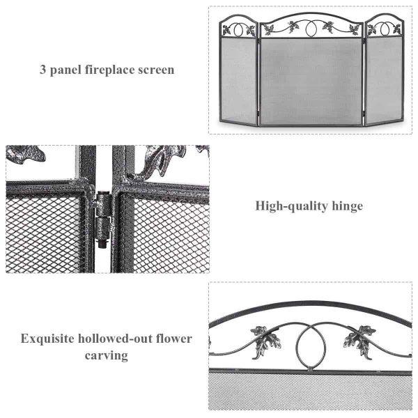 Costway Folding Steel Fireplace Screen Doors 3 Panel Heavy Duty Home Furni Decor Fire 2