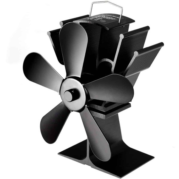 Costway Stove Fan 5 Blades Fuel Saving Heat Powered For Wood Burner Fireplace Eco