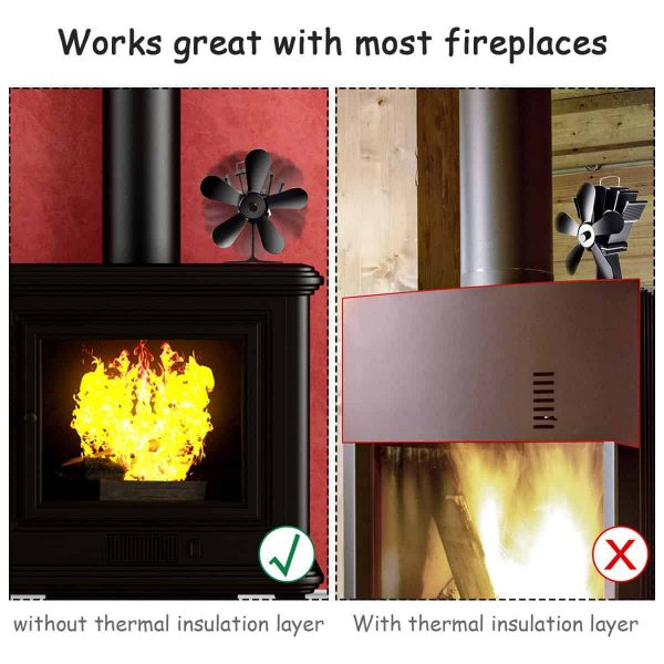 Costway Stove Fan 5 Blades Fuel Saving Heat Powered For Wood Burner Fireplace Eco 7