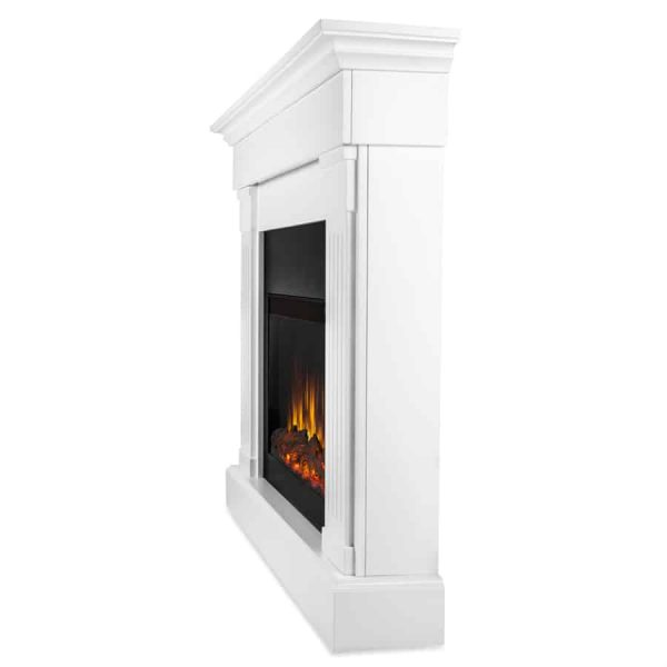 Crawford Slim Line Electric Fireplace in White by Real Flame 1