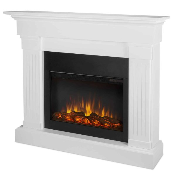 Crawford Slim Line Electric Fireplace in White by Real Flame 2
