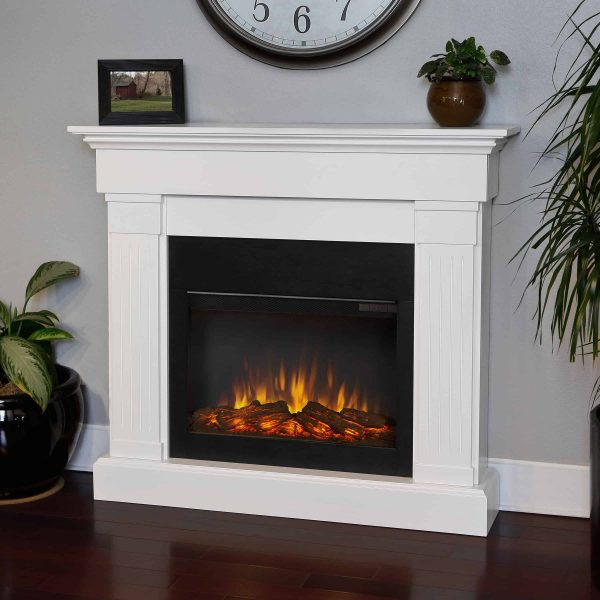 Crawford Slim Line Electric Fireplace in White by Real Flame