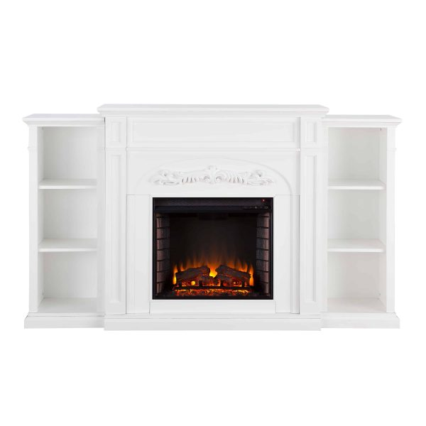 Crayfire Bookcase Electric Fireplace, White 4