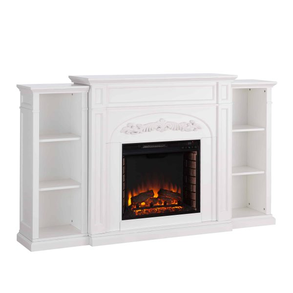 Crayfire Bookcase Electric Fireplace, White 6