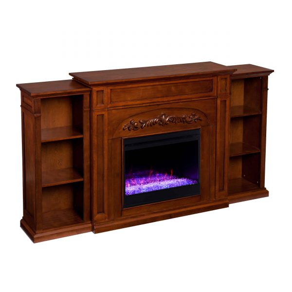 Crayfire Color Changing Fireplace w/ Bookcases 1