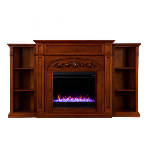 Crayfire Color Changing Fireplace w/ Bookcases 2