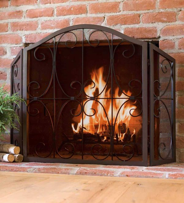 Crest Tri-Fold Fireplace Fire Screen with Steel Frame 1