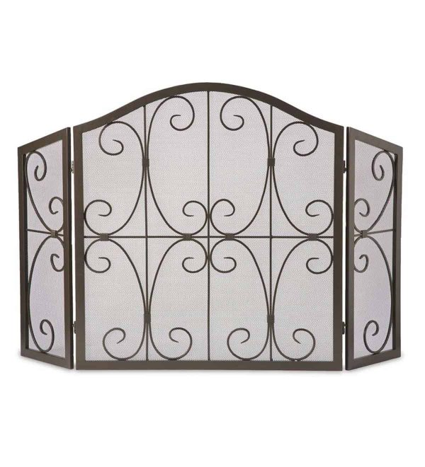 Crest Tri-Fold Fireplace Fire Screen with Steel Frame