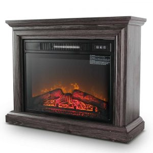 DELLA 1400 Watt Electric Portable Freestanding Fireplace Insert Stove Heater with Glass View Log Glow Remote Control