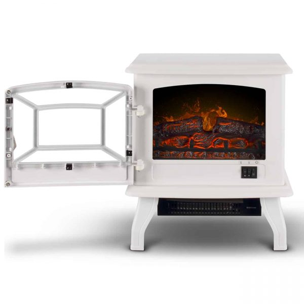 "DELLA 17"" Adjustable Flame Brightness Thermostat Fireplace Stove Heater 1400-Watts, White 1"