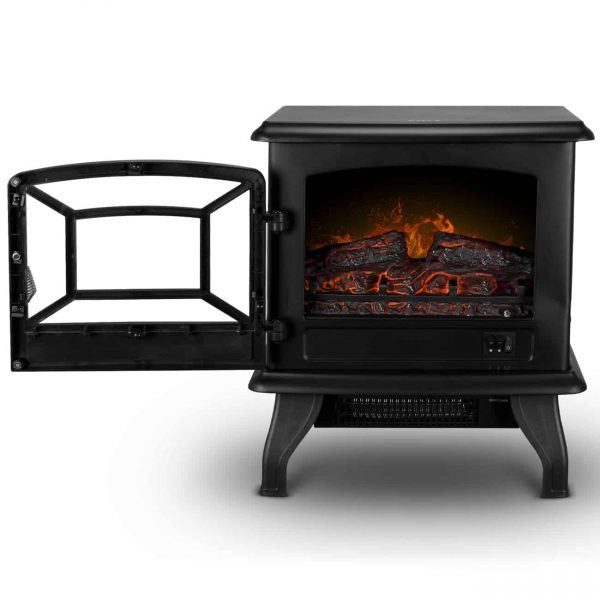 """DELLA 17"""" Freestanding Electric Fireplace Adjustable 3D Flames Portable Firebox with Logs Heater, 1400W 1"""