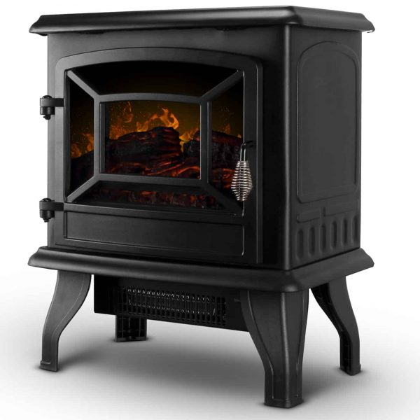 """DELLA 17"""" Freestanding Electric Fireplace Adjustable 3D Flames Portable Firebox with Logs Heater"""