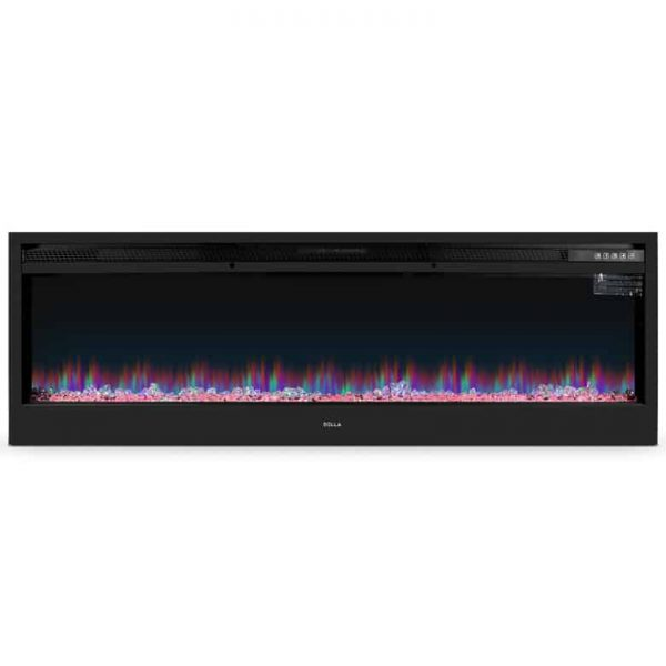 DELLA Electric Fireplace Wall Mounted, Color Changing LED Flame and Remote, 58 inch 1