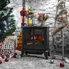 DELLA Electric Stove Heater Fireplace with Realistic Log Wood Burning Flame Effect 1400W - Black 7