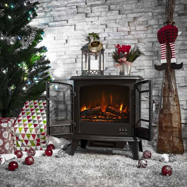 DELLA Electric Stove Heater Fireplace with Realistic Log Wood Burning Flame Effect 1400W - Black 2