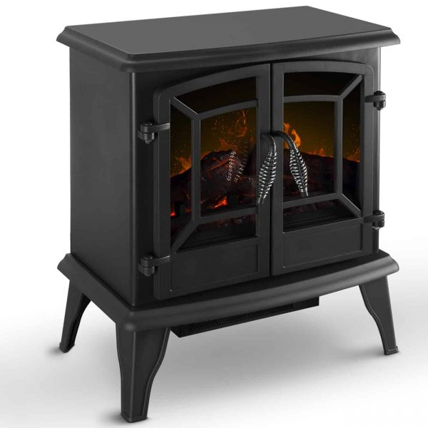 DELLA Electric Stove Heater Fireplace with Realistic Log Wood Burning Flame Effect 1400W - Black