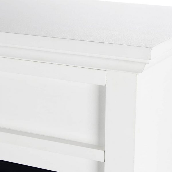 DELLA Wood Electric Fireplace Mantel Package Freestanding Heater Corner Firebox w/Log Hearth, Remote Control 1400W White 3