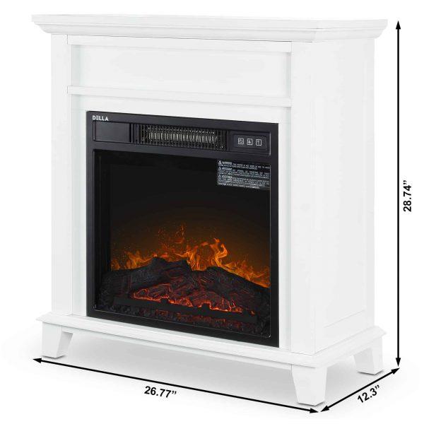 DELLA Wood Electric Fireplace Mantel Package Freestanding Heater Corner Firebox w/Log Hearth, Remote Control 1400W White 4