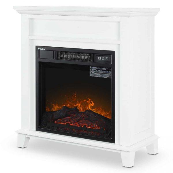 DELLA Wood Electric Fireplace Mantel Package Freestanding Heater Corner Firebox w/Log Hearth