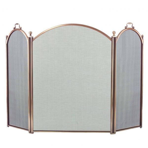Dagan Three Fold Antique Brass Arched Fireplace Screen